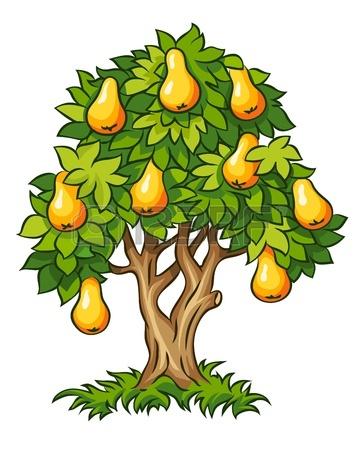 14646518-beyaz-zemin-üzerine-izole-olgun-meyveler-resimde-ile-armut-ağacı